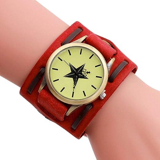 Reloj para Hombre, Reloj Vintage De Bronce con Cinturón Ancho Rojo
