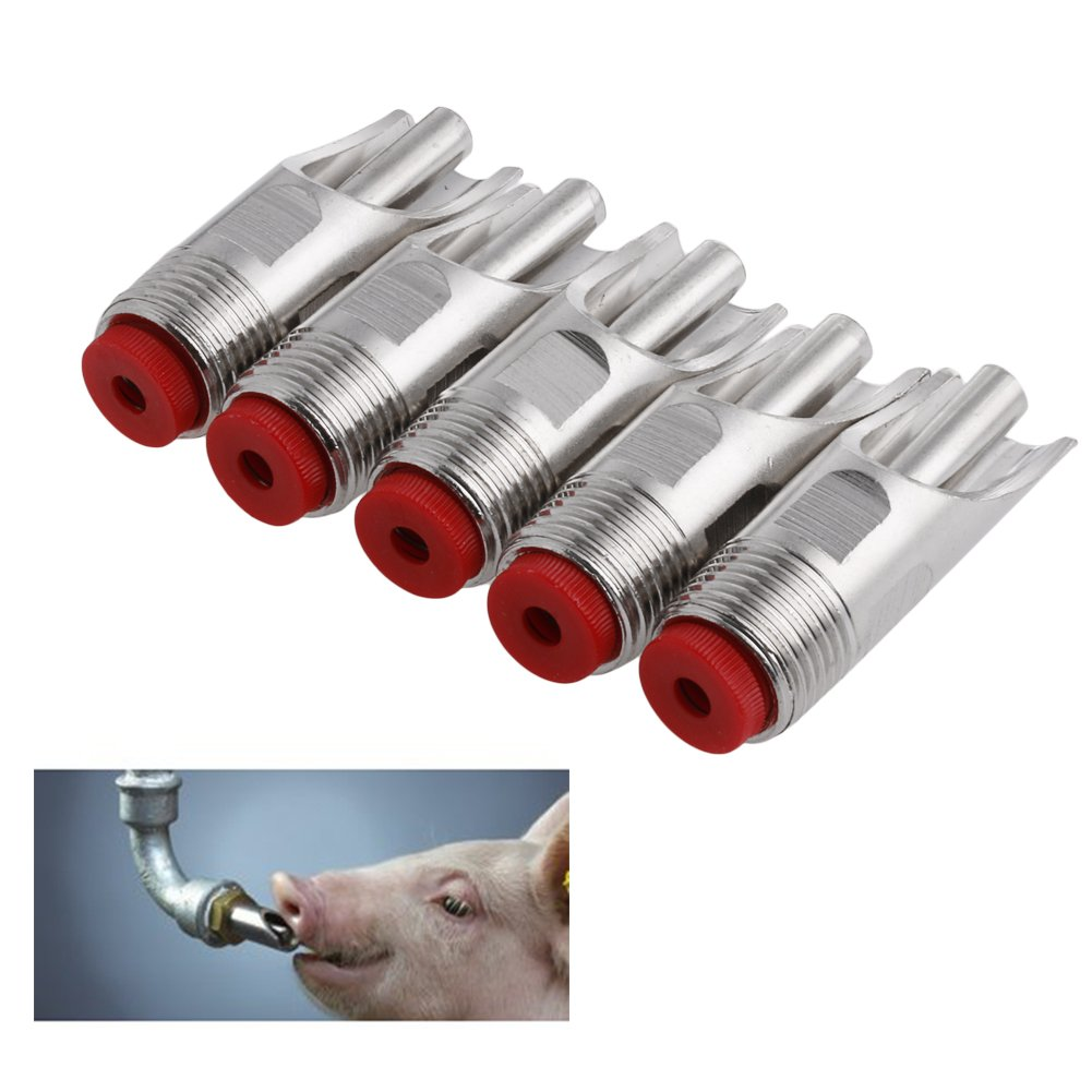 Tangc 5Pcs/set Steel 1/2'' PT Thread Pig Hog Automatic Nipple Drinker Waterer by Tangc (Image #8)
