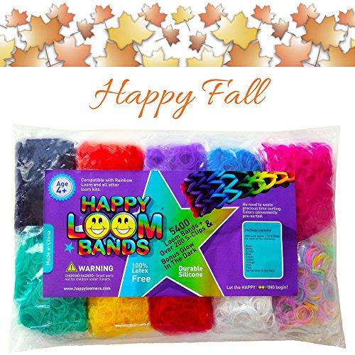 Happy Loom Bands Refill Kit~5400 Rainbow Colored & BONUS Glow in Dark + S-Clips - 90 Day Satisfaction Guarantee (Easy Halloween Loom Bands)