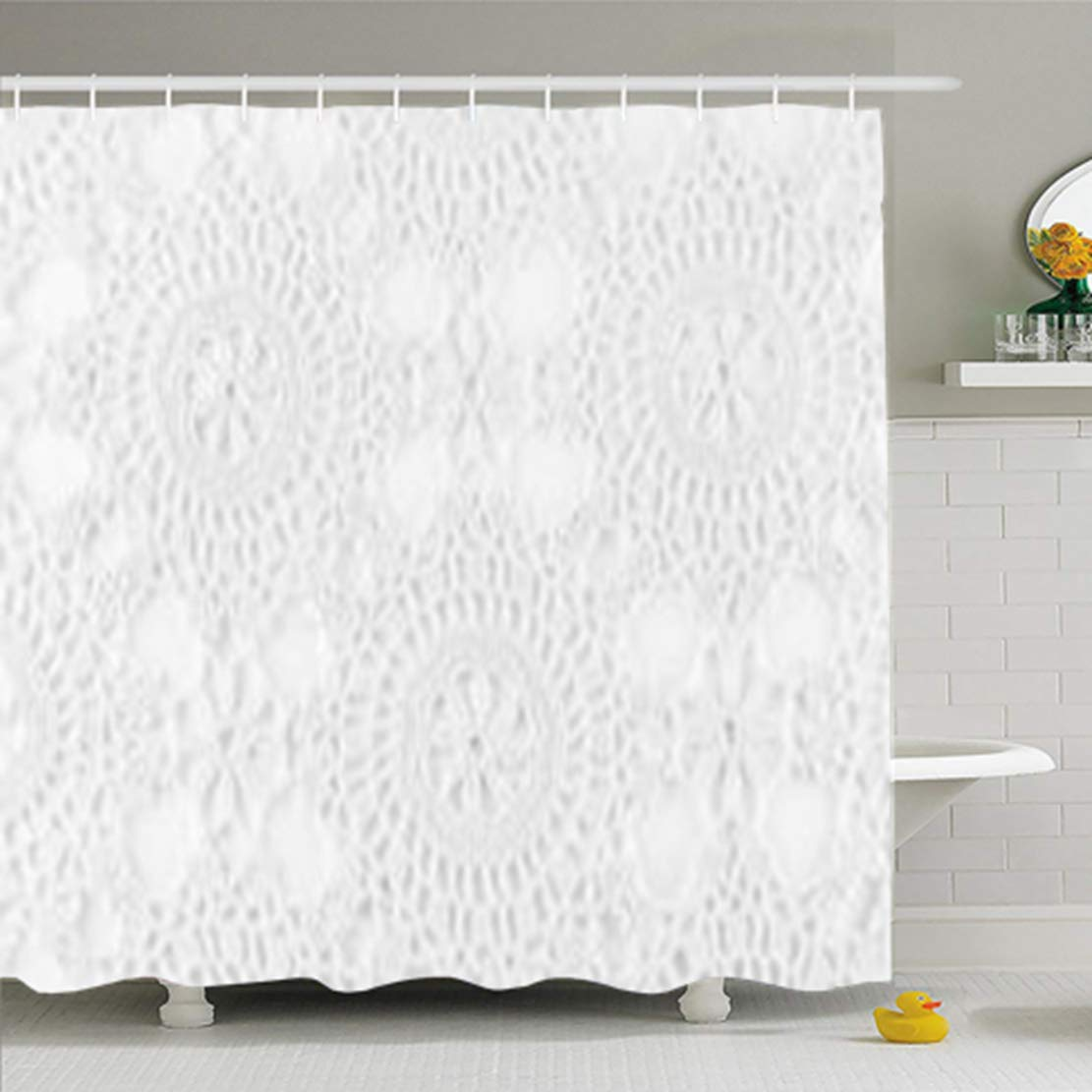 ArtsDecor Shower Curtains 72 X 78 Inches Lace Crochet White Sewn Abstract Antique Black Border Bridal Waterproof Fabric For Bathroom Home Decor Set With