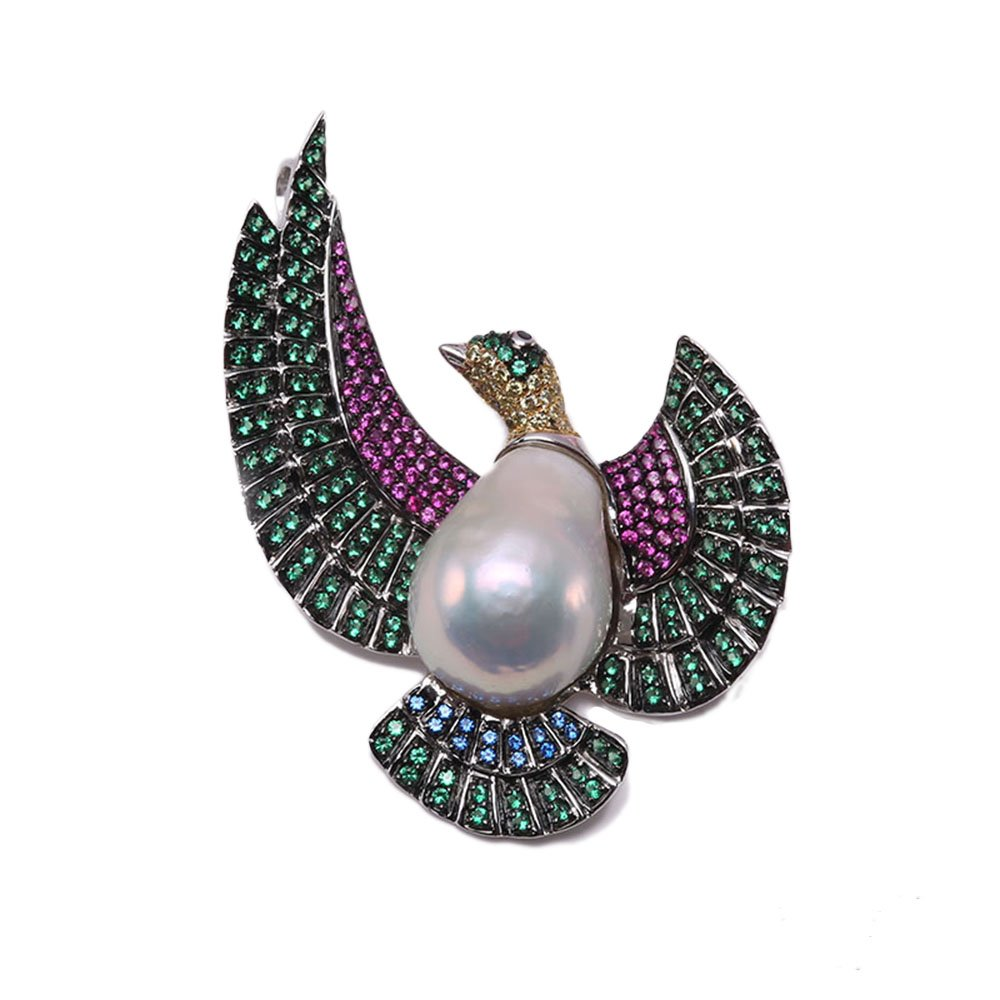 JYX Fine Flying-bird-style White Baroque Pearl Pendant Brooches