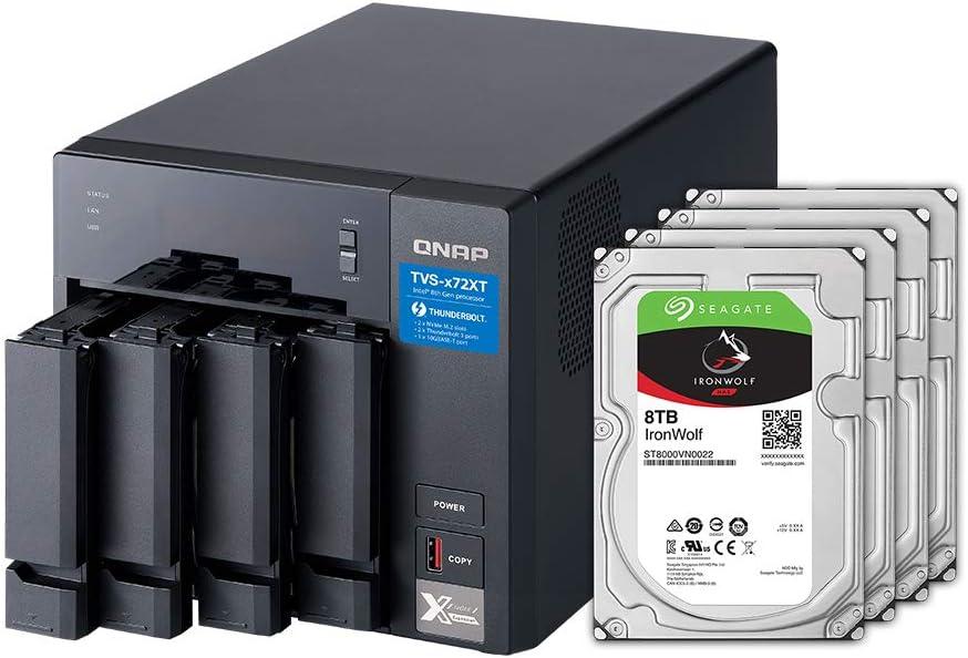 QNAP 4 Bay Thunderbolt NAS with 24TB Storage Capacity, Preconfigured RAID 5 Seagate IronWolf Drives Bundle (TVS-472XT-PT-4G-48R-US)