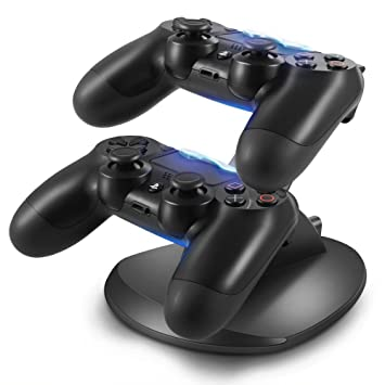 OBVIS Playstation 4 Charger Kit, Dual USB Charging Charger Docking Station Stand for Playstation 4 PS4 Controller
