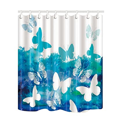 NYMB Vector Blue Splashing Butterfly Shower Curtain Mildew Resistant Waterproof Polyester Fabric Bathroom Decorations