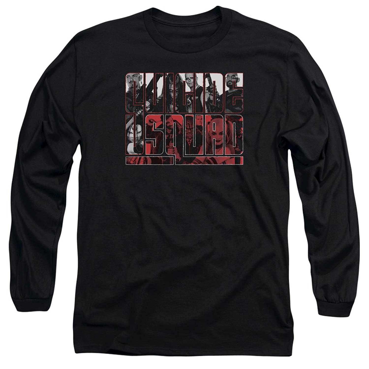 Suicide Squad Men's Black And White And Red All Over Long Sleeve T-Shirt
