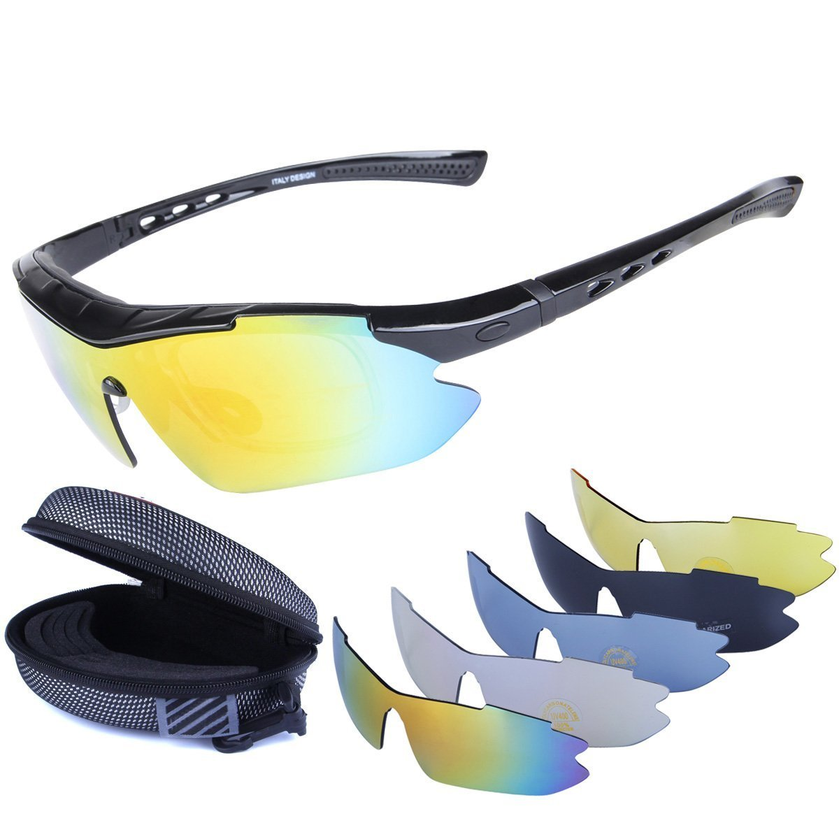 Polarized Sports Sunglasses Cycling Baseball Running Fishing Driving Golf Hiking Biking Outdoor Glasses with 5 Interchangeable Lenses OTG Motorcycle Bicycle Riding Goggles for Men Women Kids (black) by LOVE'S (Image #1)