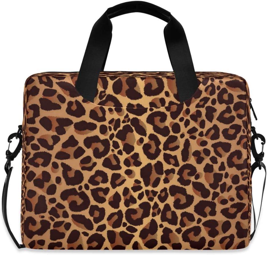 CCDMJ Laptop Case Animal Leopard Print Laptops Sleeve Shoulder Messenger Bag Briefcase Notebook Computer Tablet Bags with Strap Handle for Women Man Boys Girls 16 Inch