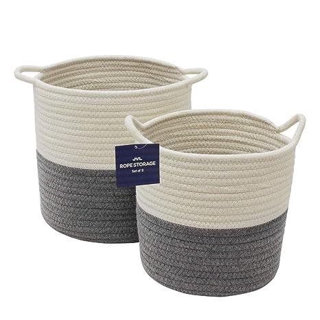 JVL Aufbewahrungsk/örbe aus flexiblem Baumwollseil Grau//cremefarben Einheitsgr/ö/ße mit Griffen
