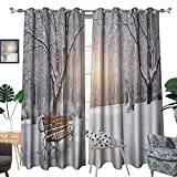 Best Better Homes & Gardens Outdoor Benches - Winter Room Darkening Wide Curtains Snow Covered Leafless Review