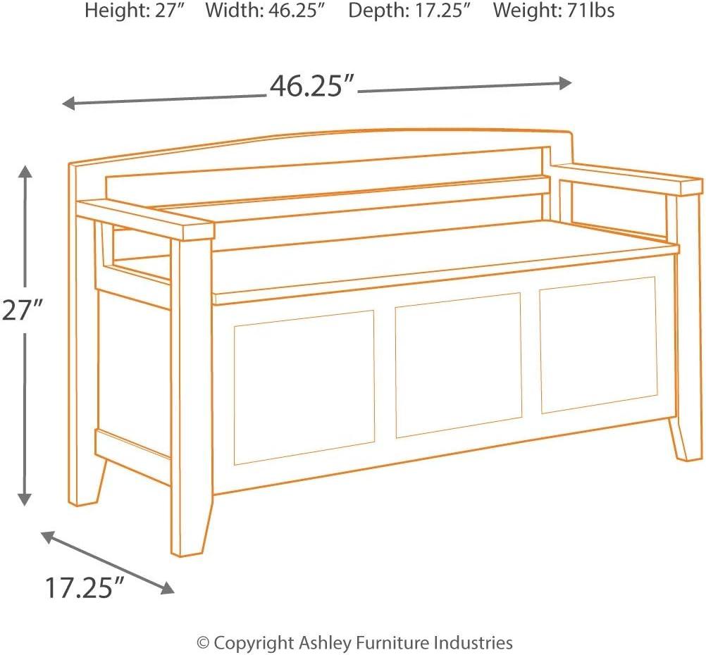 Ashley Furniture Signature Design Warm Brown Finish Abbonto Storage Accent Bench Casual