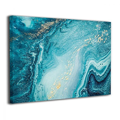 (Okoart Canvas Wall Art Prints Agate Abstract Ocean Swirls Marble Photo Paintings Contemporary Decorative Artwork For Living Room Wall Decor And Home Decor Framed Ready To Hang 16x20inch)