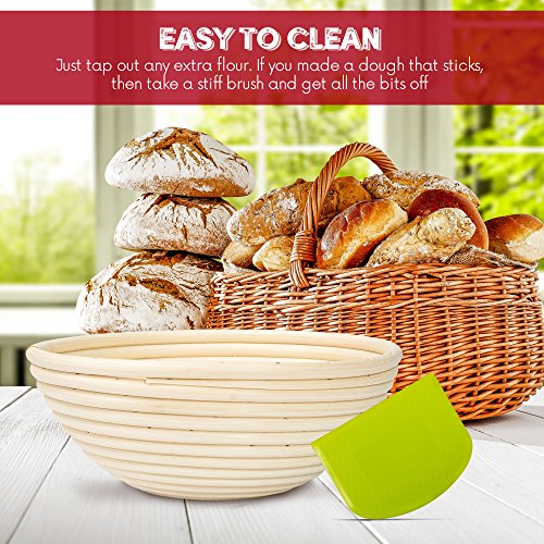 HipKopp 8.5 inch Banneton Bread Proofing Basket Set - eco-friendly Material Rattan Shape Loaf Bowl -Sourdough Kitchen Silicone Scraper Cloth Liner kit - 4 Customised Stencils for Professional Baking by HipKopp (Image #6)