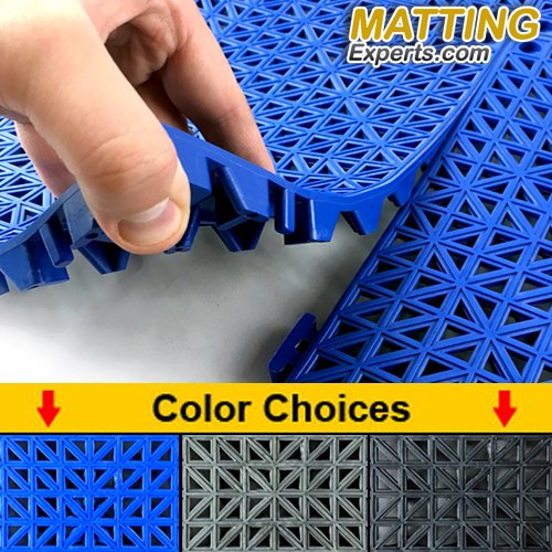 VinTile Modular Interlocking Cushion Floor Tile Mat Non-Slip with Drainage Holes for Pool Shower Locker-Room Sauna Bathroom Deck Patio Garage Wet Area Matting (Pack of 6 Tiles - 11.5