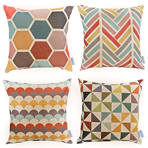 WOMHOPE 4 Pack   17 X 17 Inch Colorfull Stripe Vintage Style Cotton Linen  Square Throw Pillow Case Decorative Cushion Cover Pillowcase Cushion Case  For Sofa ...