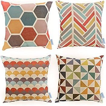 Amazon Modern Simple Geometric Style Soft Linen Burlap Square