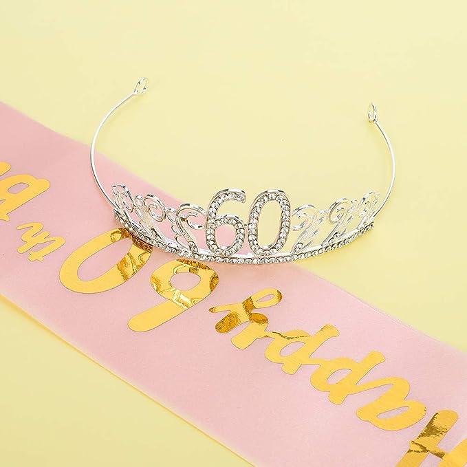 HOWAF 60/&Fabulous Sash and 60/&Fabulous Tiara Rhinestone Crown Headband