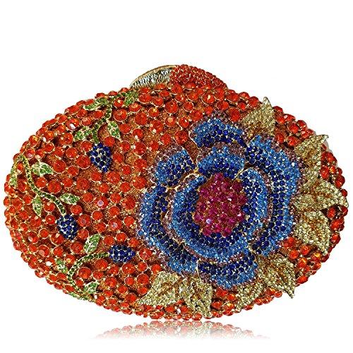 Las mujeres Bolsa de noche de lujo Flor Rhinestones Wallet señoras bolso de belleza favorito Boda monedero del embrague bastidor metálico H