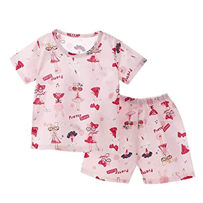 Xinantime Boys Girls Breathable Breathing Cotton Short Sleeve Shorts Air Conditioning Set: Clothing