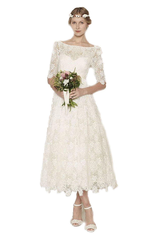 Bkskk Lace Tea Length Half Sleeve Wedding Dresses Appliques Bridal