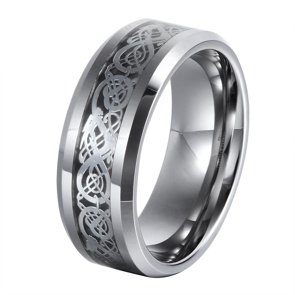L-Ring 8MM Men's Tungsten Wedding Ring Silver Celtic Dragon Inlay Polished Beveled Edge, Size 7-14(12)
