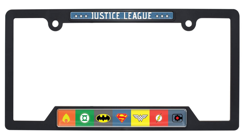 Elektroplate Justice League Black Metal License Plate Frame Open Version