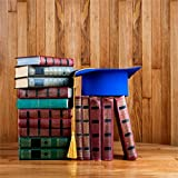 CSFOTO 4x4ft Background For Graduation Mortarboard On Top of Stack of Books On Wooden Photography Backdrop Graduation Ceremony Hat Season College Student Children Photo Studio Props Wallpaper