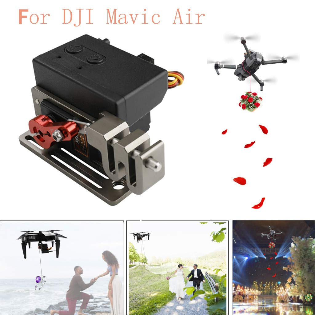 Fullwei Upgraded Double Release Thrower Servo Controlled Dropper Device For DJI Mavic Air Drone Dropping System (black)