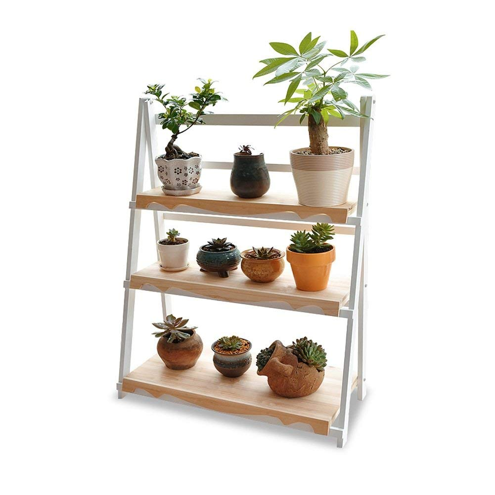 Chuangshengnet Outdoor Indoor Display Plant Stand Solid Wood Floor Shelf Multi-Layer Folding Flower Stand