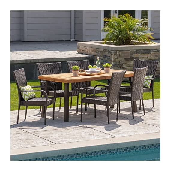 Christopher Knight Home Leopold Outdoor 7-Piece Acacia Wood/Wicker Dining Set | with Teak Finish | in Multibrown, Rustic Metal - The beautiful blend of wood and wicker comes to life with this dining Set, complete with six stacking wicker dining chairs, you can enjoy eating in your backyard whenever you want, The wooden table is treated to withstand even the harshest of seasons, ensuring your Set looks great all year long, The rectangular table ensures that there is enough space for both food and people, meaning no one leaves the table hungry Includes: one (1) table and six (6) chairs Table material: Acacia wood | table leg Material: iron | chair Material: faux wicker | chair frame material: iron | table top finish: teak | table leg Finish: rustic metal | wicker finish: - patio-furniture, dining-sets-patio-funiture, patio - 61SdJZpr0fL. SS570  -