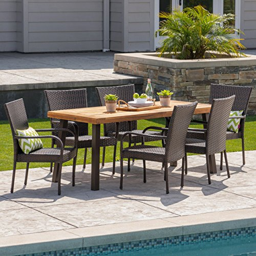 Christopher Knight Home Leopold Outdoor 7-Piece Acacia Wood/Wicker Dining Set   with Teak Finish   in Multibrown, Rustic Metal