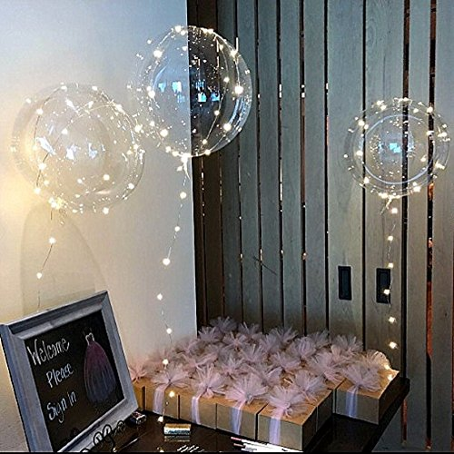 18 inch White LED Balloons with String Lights, 10 Pack. Prime Quality Transparent Glow Balloons. Clear Bobo Ballon Decorations for Parties, Birthdays, Bridal Showers & Weddings.