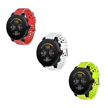Ceston Respirable Deporte Silicona Clásico Correas para Smartwatch Polar Vantage M (Rojo + Verde + Blanco)