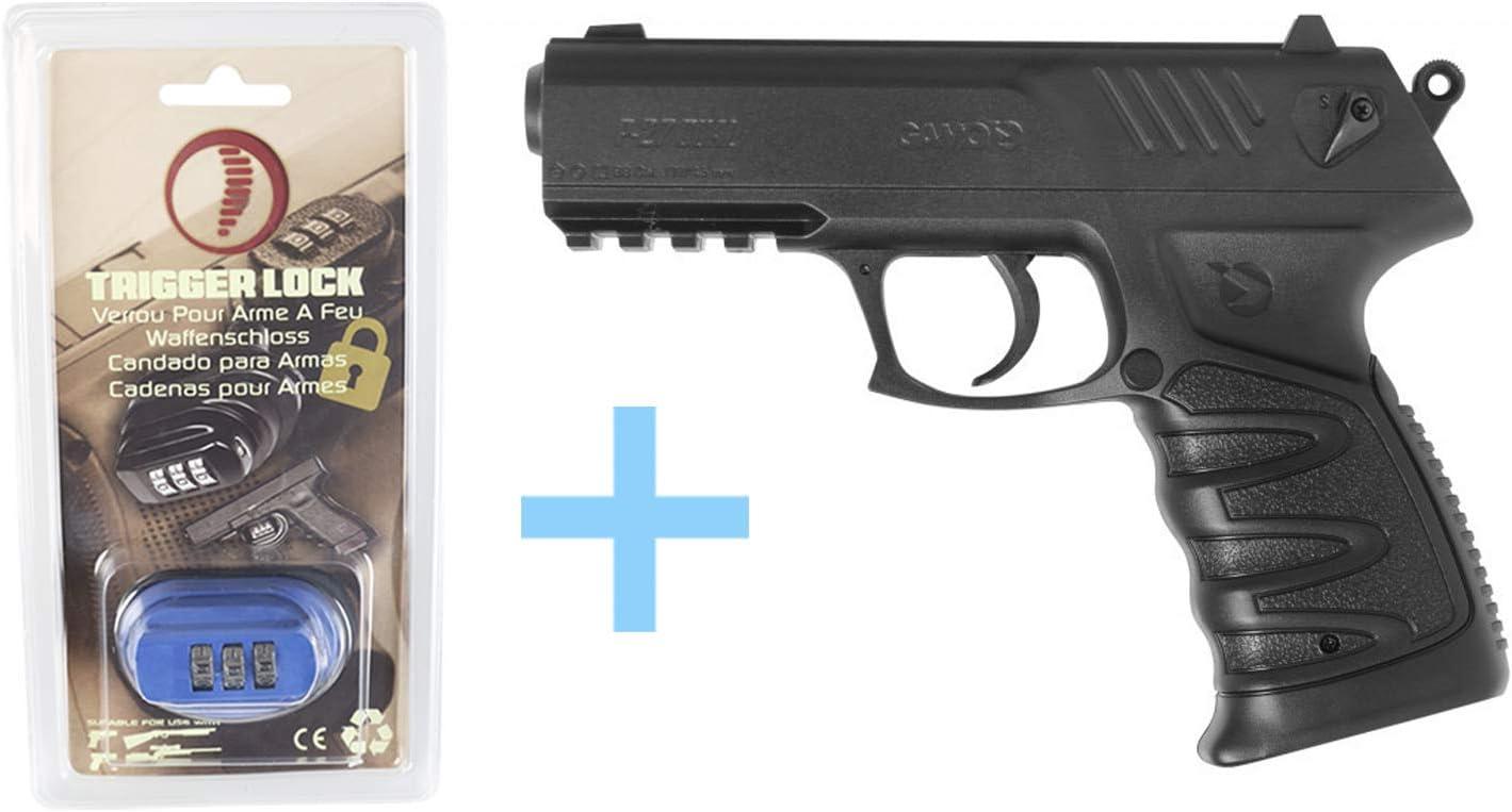 Gamo Pack Pistola Aire Comprimido (CO2) P-27, Pistola Gas semiautomática, gatillo de Doble acción, Pistola perdigones, Calibre 4,5 mm, Potencia de 3 Julios, 131 m/s + Candado de Seguridad Yatek.