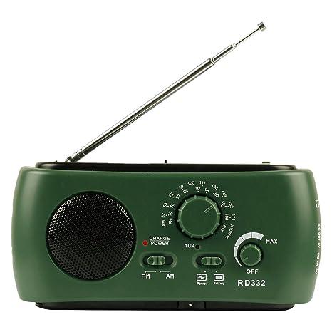 Radio solar con dinamo de manivela AM/FM/WB, equipada con linterna de led y cargador para móvil, Green RD332