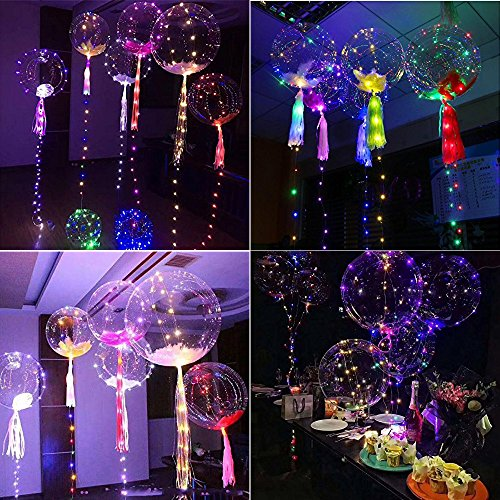 SUNKY 5pcs LED Light up Bobo Balloons, Latex Clear Transparent Round Bubble Colorful Flash String Decorations Wedding Room Courtyard Kids Birthday Party Set Glow Christmas Decor with Ball Pump by SUNKY (Image #3)