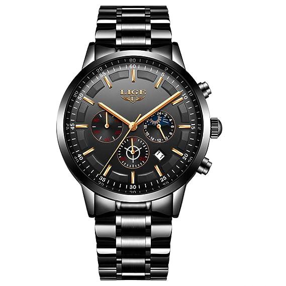 Relojes para Hombre, Hombres Acero Inoxidable Relojes Hombres Cronógrafo Impermeable Sport Fecha Cuarzo Reloj Clásico con Esfera Negra: Amazon.es: Relojes