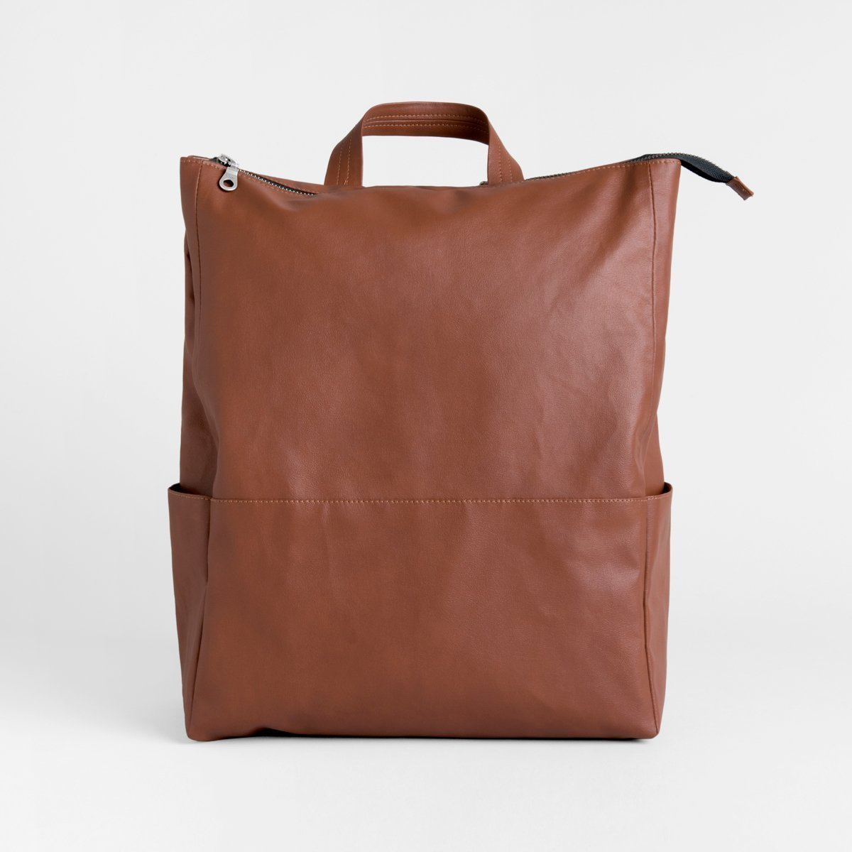 Brown Backpack, PU Faux Leather Travel Rucksack, City Backpack, Vegan Backpack, Unisex Backpack