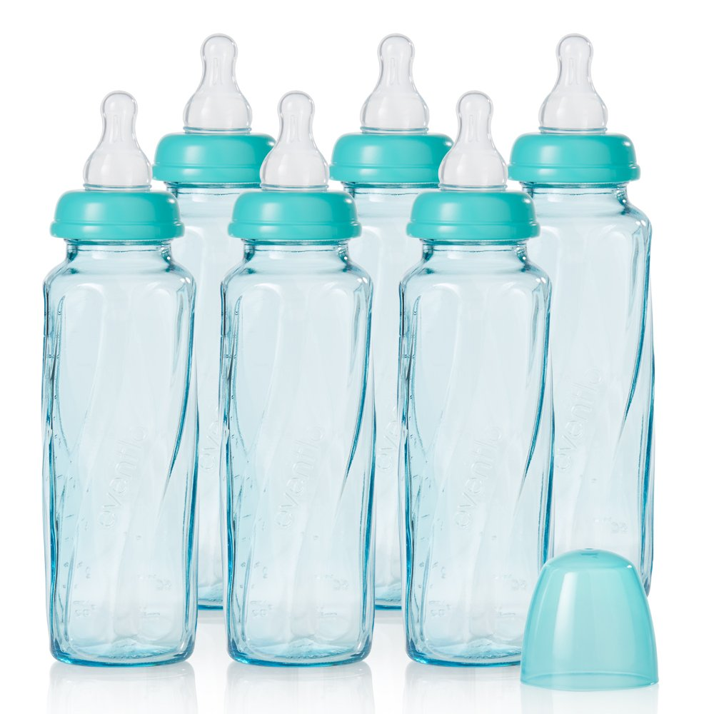 Evenflo Feeding Vented Plus Glass Tinted Bottle 6 Piece, Teal, 8 Ounce 1058611