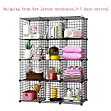 12 Cubes Wire Storage Shelves Organizer Modular Cube Shelving Metal Grids DIY Closet Organization System