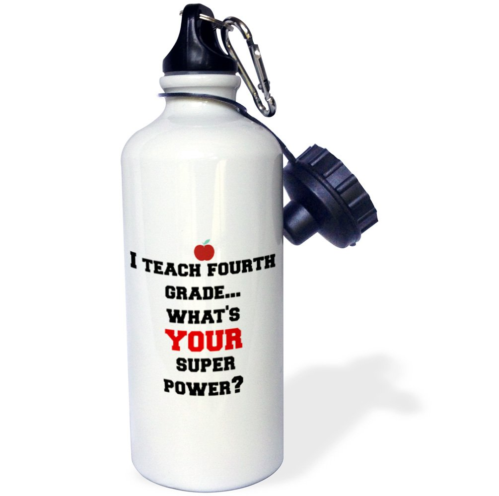 Multicolored wb/_183638/_1 21oz 3dRose Teach Fourth Grade-Whats Your Super Power-Sports Water Bottle
