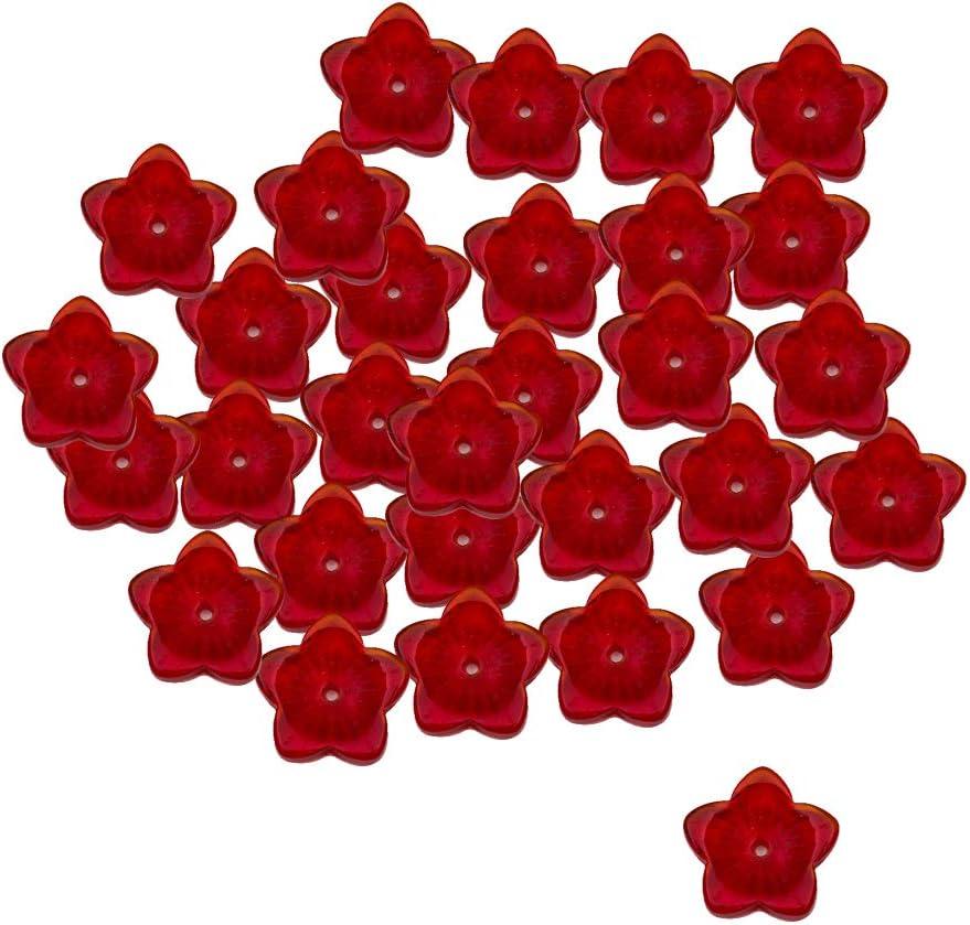 Hellery 30 Piezas De Cristal Checo Encantos Sueltos Perlas Forma De Flor De Bricolaje Accesorio para El Cabello - Rojo