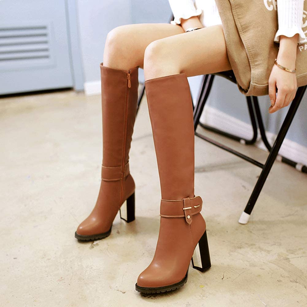 Women Winter Warm Square High Heel Side Zipper Knee High Boots Fashion Round Toe Thigh High Booties