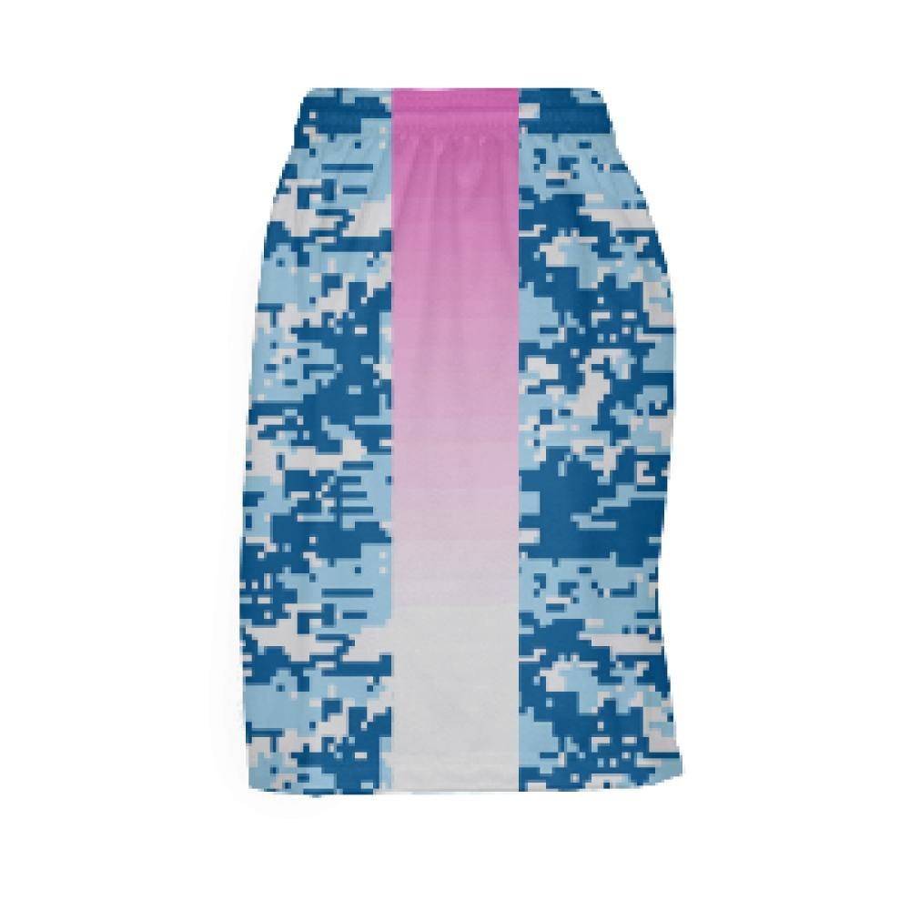 Youth Girls Blue Digital Camo Pink Side Lacrosse Shorts Youth,