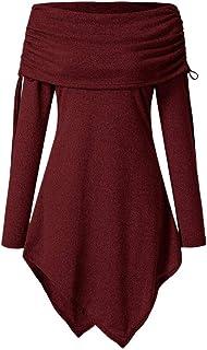 Juliyues Damen Pullover Sweatshirt,Frauen Solide Off Schulter Tunika Sweatshirts Langarm Lange Tops Bluse