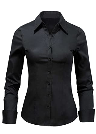 2bcdde8047f7 LA2NY Women's Tailored Long Sleeve Button down Shirts with Stretch (Large,  Black) at Amazon Women's Clothing store: