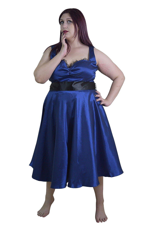 Skelapparel Plus Size Vintage Design Royal Blue Satin Dress with Sash  Ribbon Belt