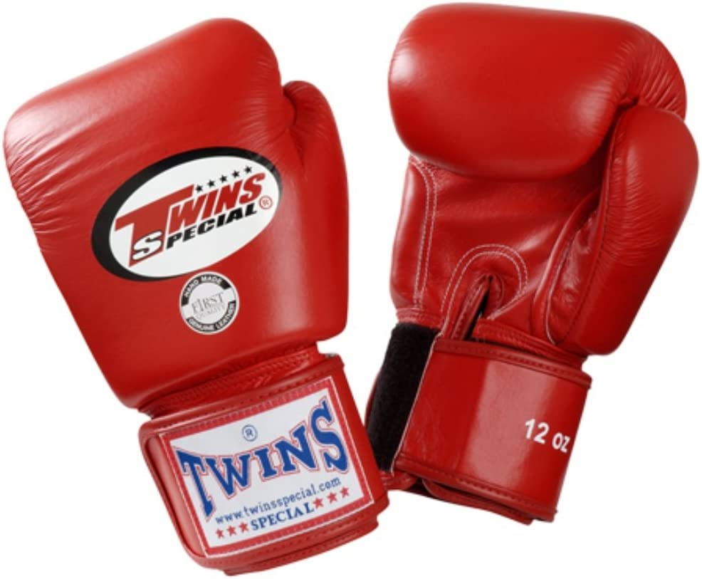 Twins Special Red Muay Thai Velcro Boxing Gloves BGVL-3