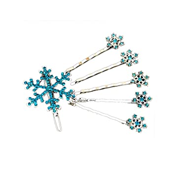 Dusty Blue Hair Pin Elsa Clip Powder Blue Hair Flowers Snowflake Hair Clips Star Bobby Pin Something Blue Hair Pin Cubic Zirconia Hair Piece