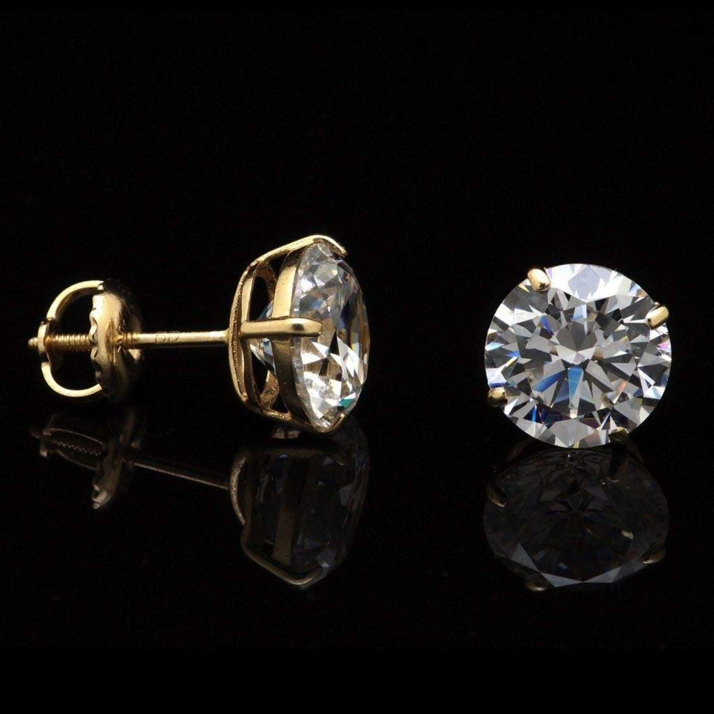 14K Yellow Gold 4Ct Created Diamond Round Stud Screw-Back Earrings 8mm