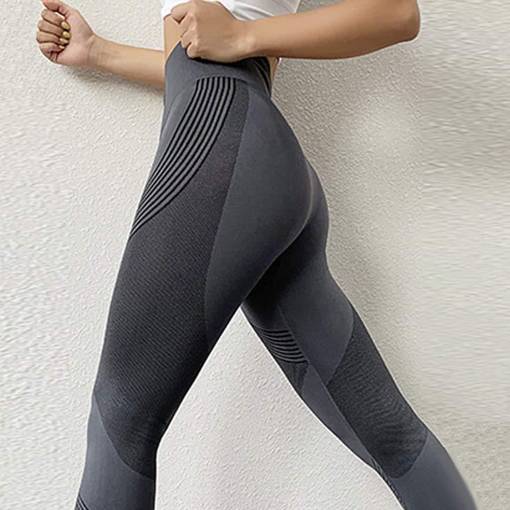 LANSKIRT Leggings para Mujer Cintura Alta con Rayas Elásticas ...